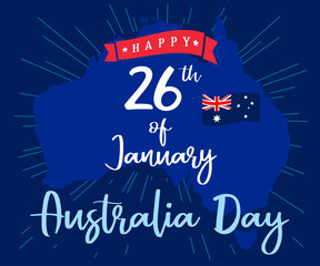 Happy Australia Day lettering and flag on map, greeting card. Vector illustration for 26th january Australia day lettering banner background with national flag colors
