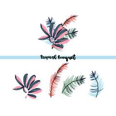 Tropical palm leaves bouquet.