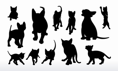 Set of Cat silhouette vector illustration