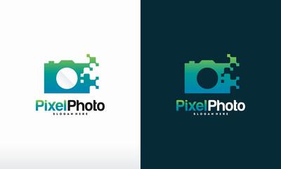 Pixel Photography logo designs concept vector, Pixel Camera logo symbol Photography logo icon