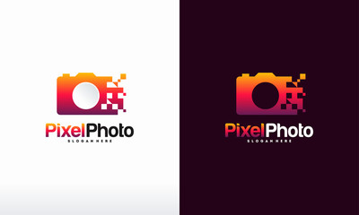 Pixel Photography logo designs concept vector, Pixel Camera logo symbol Photography logo icon