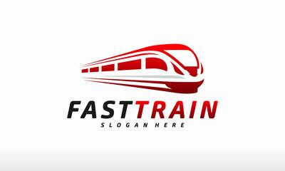 Fast Train logo designs concept vector, futuristic metro railway transport Logotype icon