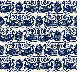Seamless woodblock printed indigo dye ethnic pattern. Traditional European folk motif with gees and floral arabesques, navy blue  on ecru background. Textile or wallpaper print.