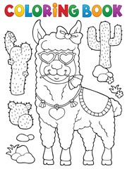 Coloring book llama with love glasses 1