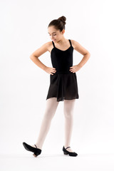 Young character ballerina in a black outfit