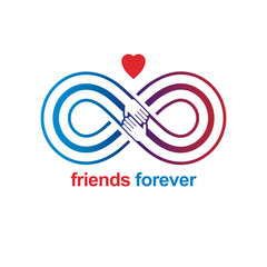 Friends Forever, everlasting friendship unusual vector logo combined with two symbols of Infinity and human hands.