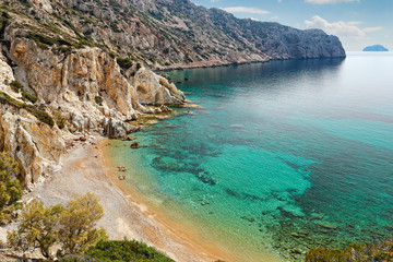 The beach Vroulidia in Chios, Greece