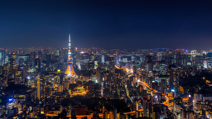 Fotomurales - Panorama of Tokyo cityscape at night, Japan.