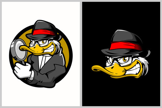 detective duck cartoon character vector logo template