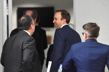 Britain's Health Secretary Hancock smiles during NHS Long Term Plan launch in Liverpool