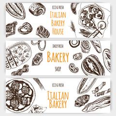 Vector illustration sketch. bread, loaf, baguette, focaccia, pizza. italian bakery house.