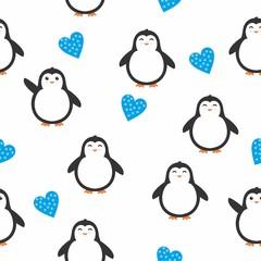 Cute penguin seamless pattern