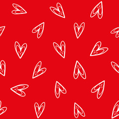 Fun white hand drawn doodle hearts on vibrant red background as seamless vector pattern. Great for Valentine, friendship gifts or decor for girls, giftwrap, scrapbooking and stationery.