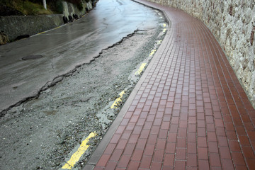 Damaged road surface