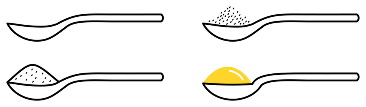 Spoon / Spoonful icon. Empty and three full versions.