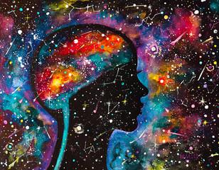 Dipinto acquerello donna e cosmo