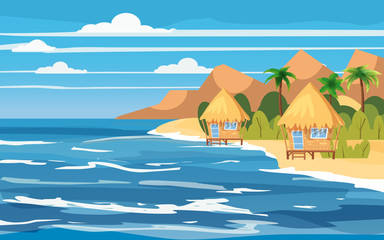 Tropical island, bungalows, vacation, travel, relax, seascape, ocean, template, banner, for advertising, vector, illustration, isolated, cartoon style