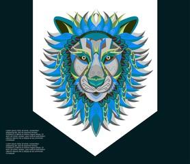 Vector color illustration of lion head - Vector