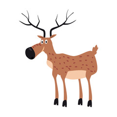 Cute Deer, forest animal, suitable for books, websites, applications, trend style graphics, vector, illustration, isolated, cartoon style