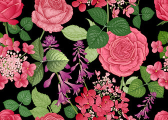 Seamless pattern with garden roses and wildflowers.