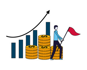 businessman flag chart and pile coins money