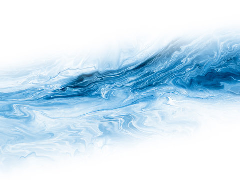 Blue creative abstract hand painted background, marble texture, abstract ocean