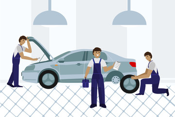 Workers in car service tire service and car repair. Flat. Vector