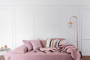 Cozy living room corner with pink velvet sofa and gold floor lamp in modern classic style on top with pink fluffy blanket with white wooden stripe wall /cozy interior concept / living room idea