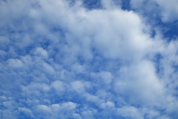 blue sky and white cloudy , beautiful heaven scene , Altocumulus pattern texture background .