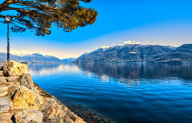 Panorama view of the small town Brissago and Maggiore lake in Ticino, Switzerland