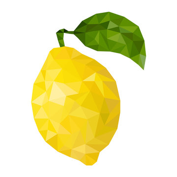 Yellow lemon  in low poly triangular style vector