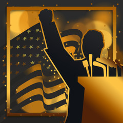 A silhouette illustration of Dr. Martin Luther King, Jr., giving a speech with the United States of America National Flag on the background in black and gold