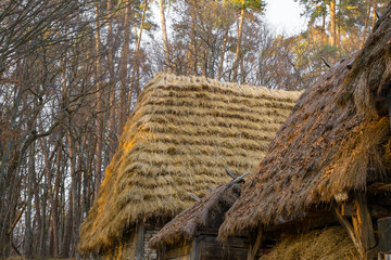 straw roofing at the country farm