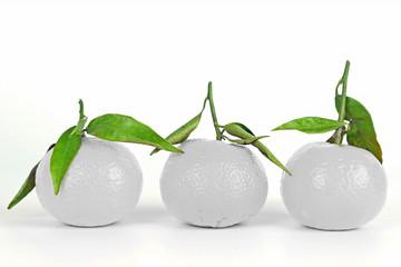 Drei weiße Mandarinen