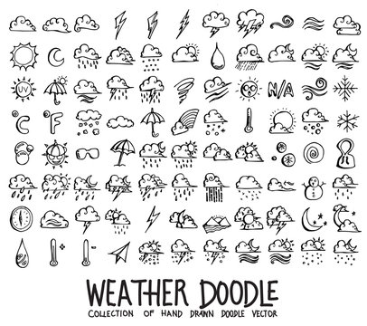 Set of Weather icons Drawing illustration Hand drawn doodle Sketch line vector eps10