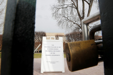 The entrance to the Smithsonian's National Gallery of Art is padlocked as a partial government shutdown continues in Washington