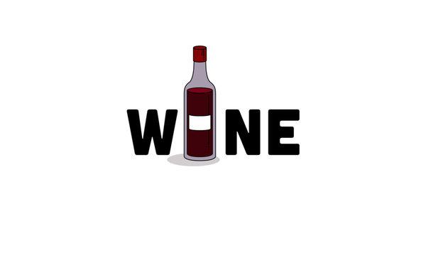 Wine Typography with Bottle Minimalist Design Concept