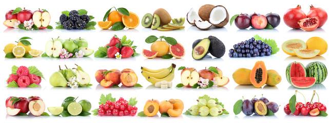 Wall Mural - Früchte Frucht Obst Collage Apfel Orange Banane Orangen Äpfel Melone Zitrone biologisch Freisteller freigestellt isoliert