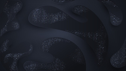 Black dotted splashes on dark background