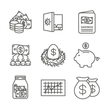 Retirement Account and Savings Icon Set w Mutual Fund, Roth IRA, etc