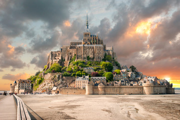 Panoramic view of famous Le Mont Saint Michel with sunset Wall mural