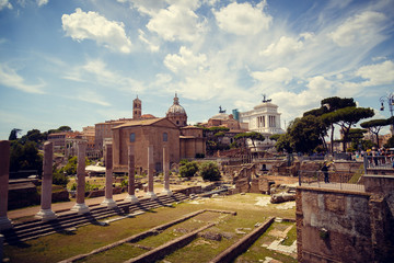 Panoramic view of the Roman Forum in summer, Rome, Italy. The Roman Forum is the remains of architecture of the Roman Empire. Vintage panorama of ancient ruins in Rome center on a sunny day