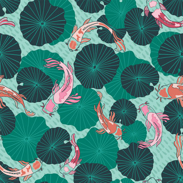 Seamless vector pattern with hand drawn Koi fish or Japanese carps and waterlily or lotus leaves in a modern, colorful graphic style.