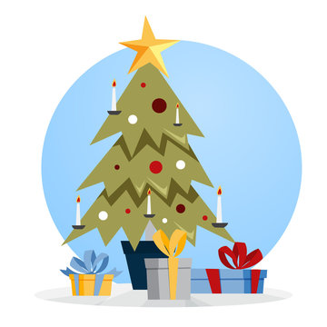 Christmas green tree with gift boxes around