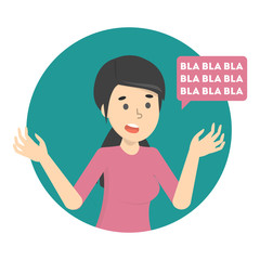 Woman talk to much with speech bubble