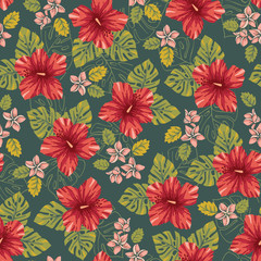 Retro Bold Colorful Tropical Exotic Foliage, Hibiscus Floral Vector Seamless Pattern. Vintage Lush Tropical Palm Leaves
