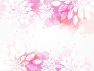Watercolor background with abstract flowers