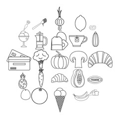 Light meal icons set. Outline set of 25 light meal vector icons for web isolated on white background