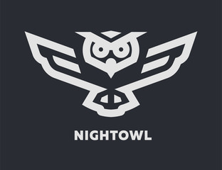 Linear flying owl logo or design template on a dark background.