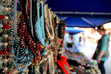 handcrafts on market stand